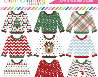 Ugly Sweater Clipart, Holiday Clip Art, Christmas Party Clipart, Ugly Sweater Party Clip Art Graphics Commercial Use OK