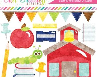 Watercolor School Clipart, Watercolor School Supplies Clipart, School Clip Art Graphics, Commercial Use Clip Art, Schoolhouse Clipart