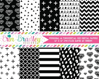 Digital Papers, Black & White Digital Paper Pack, Diamonds Triangle Striped Doodle and Cross Patterns, Digital Scrapbooking Paper