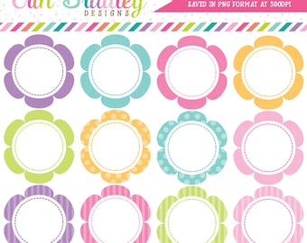 Flower Frames Clipart Graphics Commercial Use Scalloped Circles Clip Art