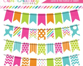 Colorful Rainbow Bunting Clipart Commercial Use Graphics