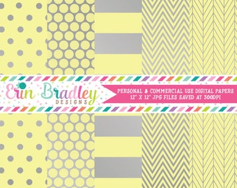 Silver Foil & Yellow Digital Paper Pack Commercial Use Digital Scrapbook Papers Polka Dots Stripes Herringbone and Chevron