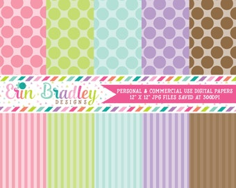 Digital Scrapbook Papers Personal and Commercial Use Pastel Polka Dots and Stripes