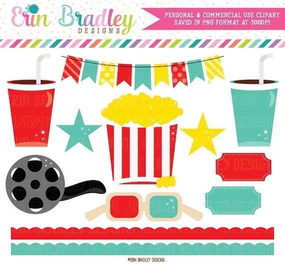 Movie Theater Clipart Graphics Digital Popcorn Food Beverage