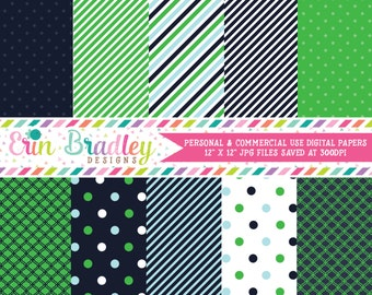 Digital Scrapbook Papers Personal and Commercial Use Preppy Navy Blue and Kelly Green Medley