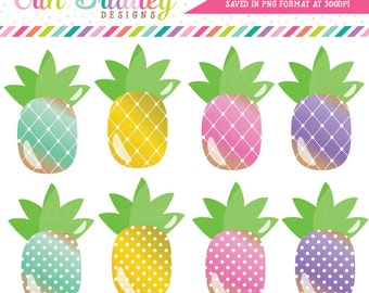 Pineapples Clipart with Polka Dots and Diamond Patterns Personal & Commercial Use Pineapple Clip Art Graphics