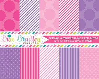 Digital Paper Pack Personal and Commercial Use Pink and Purple Polka Dots and Stripes