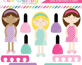 Spa Day Girls Clipart, Spa Clip Art Graphics, Girls Clip Art, Nail Polish Clipart Graphics
