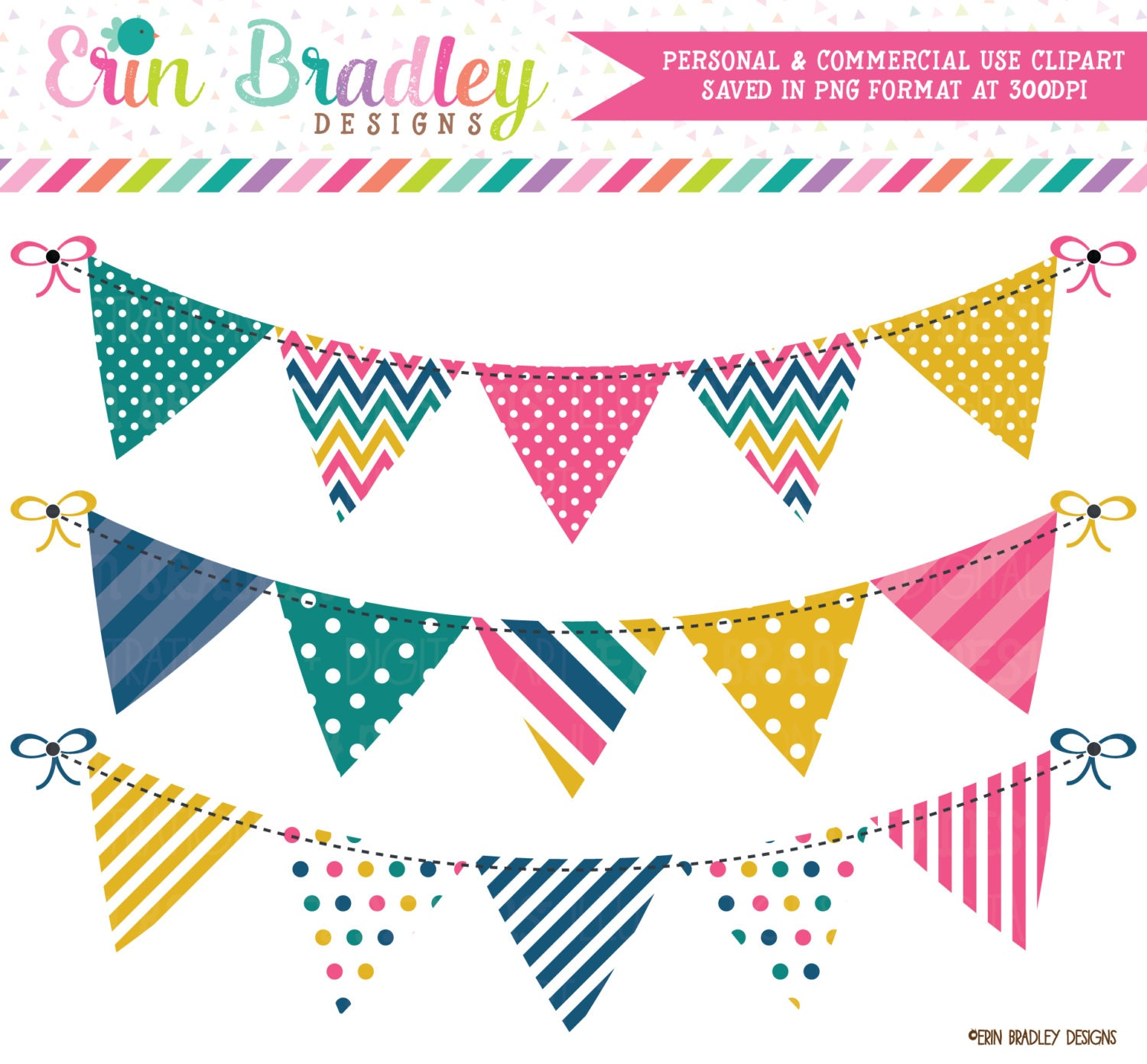 Bunting Banner Clipart Graphics Pink Yellow Teal and Blue ...