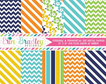Surfboard Boys Striped Digital Paper Pack Personal & Commercial Use Instant Download