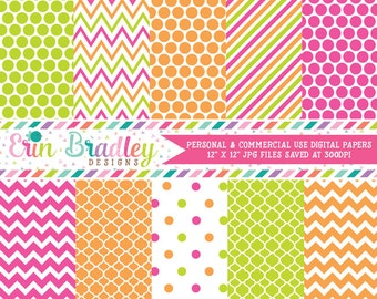 Hot Pink Lime Green and Orange Digital Paper Pack Commercial Use Instant Download