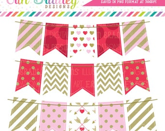 Valentines Day Bunting Clipart Graphics Pink Red Gold Banner Flags Holiday Clip Art Graphics Instant Download