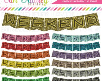 Glitter Weekend Banner Clipart Graphics Commercial Use Clip Art Bunting Flags