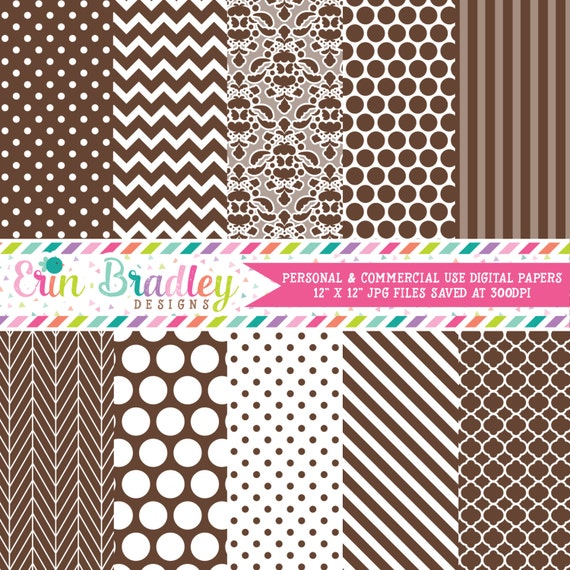 Brown Digital Paper Pack Polka Dots Damask Chevron And Striped Background Patterns Digital Scrapbooking By Erin Bradley Designs Catch My Party