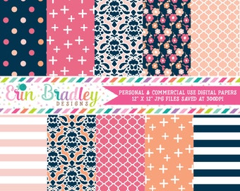 Peachy Pinks Digital Paper Pack Personal & Commercial Use Digital Scrapbook Papers