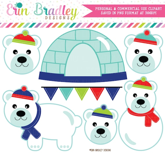 Polar Bears Clipart Instant Download WInter Holiday Graphics