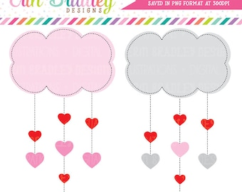 Valentines Day Clipart Heart Clouds Clip Art Digital Holiday Graphics Hearts and Clouds Instant Download