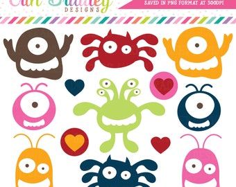 Kids Monster Clipart Graphics Commercial Use Digital Clip Art with Hearts - Instant Download