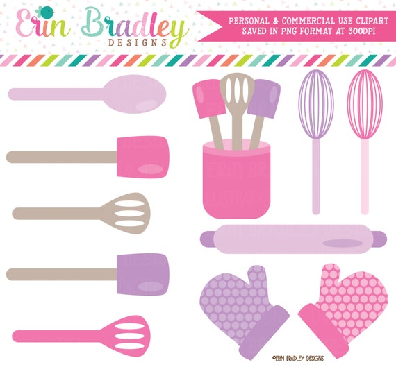 Baking Kitchen Clipart Graphics Pink & Purple Cooking Utensils Whisk  Spatula Rolling Pin Oven Mitts Clip Art