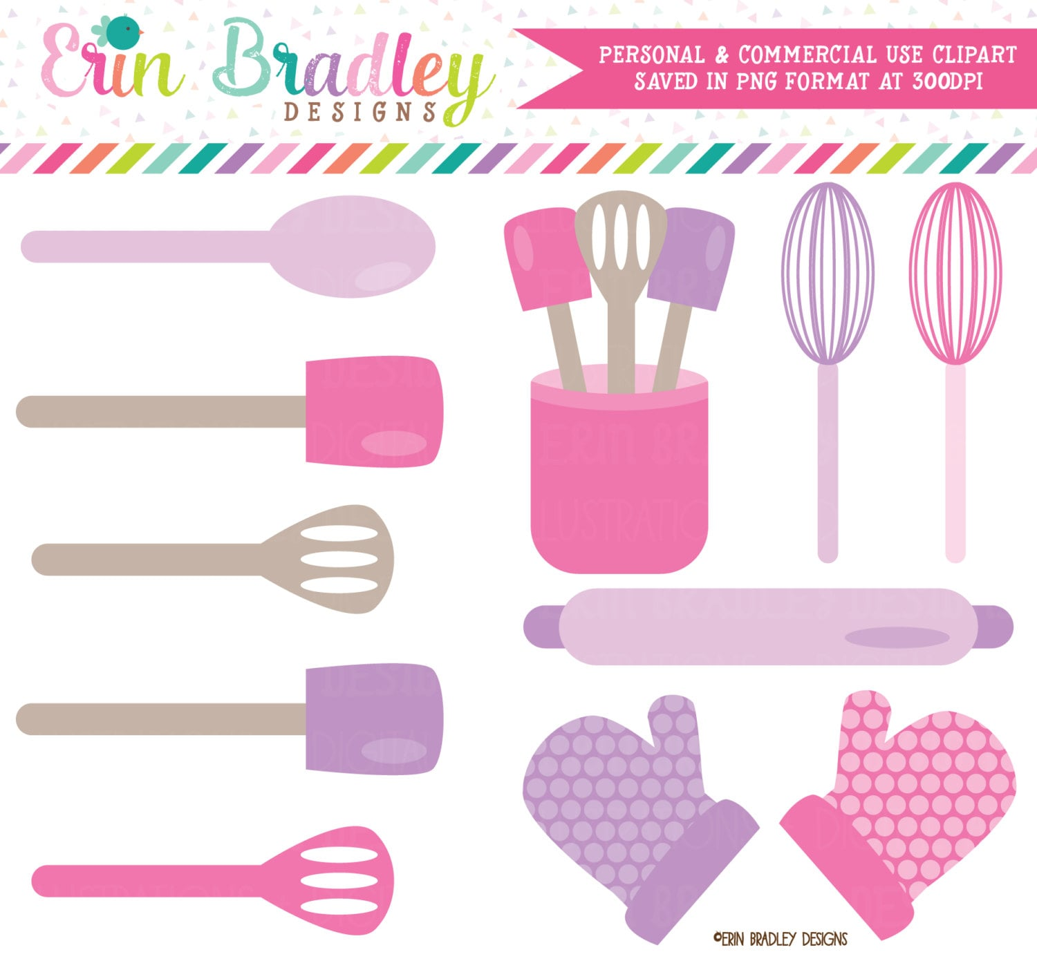 Cooking Kitchen Clip Art: Baking Kitchen Clipart Graphics Pink & Purple Cooking
