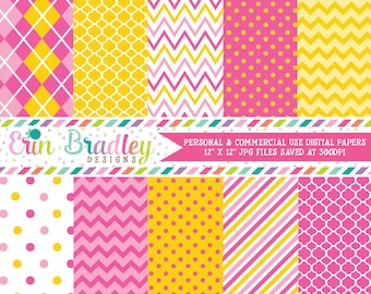 Monkey Girl Pink & Yellow Digital Paper Pack Commercial Use Instant Download