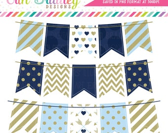 Blue Valentines Day Bunting Clipart Graphics Navy Blue Gold Banner Flags Holiday Clip Art Graphics Instant Download