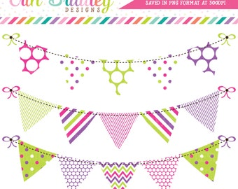 Pink Purple & Green Bunting Clipart Clip Art Commercial Use Banner Flags Instant Download