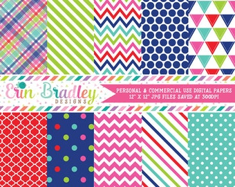 Instant Download Digital Papers Triangle Plaid Chevron Striped and Polka Dot Printable Patterns Red Green Blue Pink