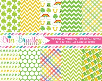 Shamrocks Digital Papers Instant Download St. Patricks Day Digital Paper Pack Yellow & Green Patterns