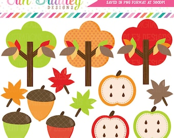 Fall Clipart Clip Art Personal & Commercial Use Apples Acorns Trees Leaves Graphics Instant Download