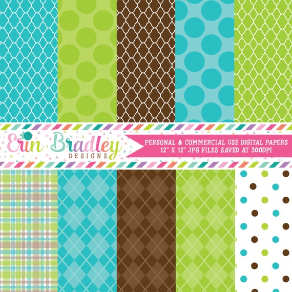 Digital Scrapbook Papers Personal And Commercial Use Blue Etsy