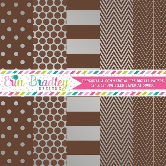 Silver Foil Brown Digital Paper Pack Commercial Use Digital Scrapbook Papers Polka Dots Stripes Herringbone And Chevron By Erin Bradley Designs Catch My Party