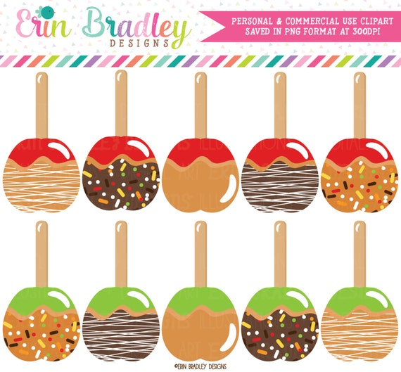 Caramel Apples Clipart Carmel Apple Autumn Fall Clip Art Etsy