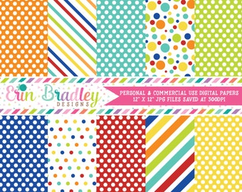 Easter Boys Digital Papers Blue Red Orange Yellow Green Stripes & Polka Dots Digital Paper Pack Instant Download