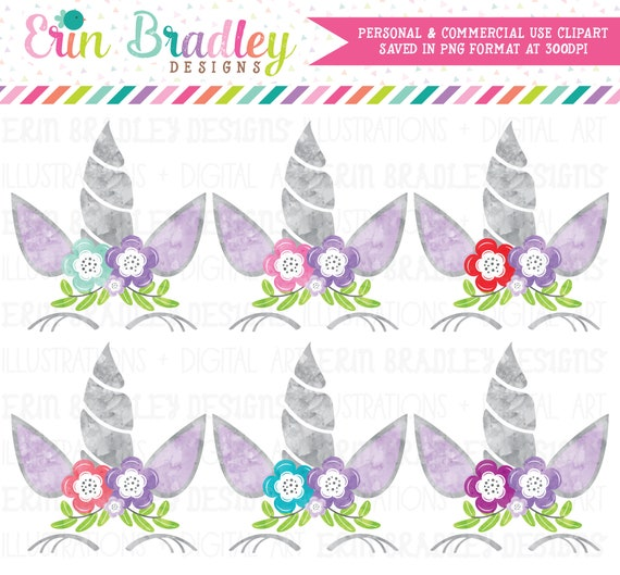Lilac first birthday Unicorn Clipart Watercolor Clipart | Etsy