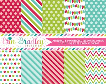 Christmas Lights Digital Paper Pack Personal & Commercial Use Red Green Blue Instant Download