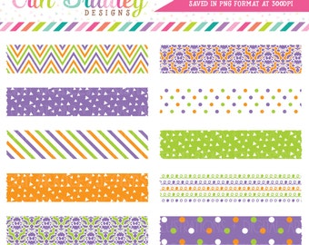 Halloween Digital Washi Tape Clipart Purple Orange and Green Chevron Striped Polka Dotted Doodle & Damask Patterns Clip Art