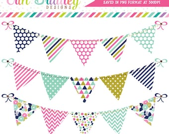 Pink Blue and Gold Bunting Clipart Set Personal & Commerical Use Digital Clip Art Graphics Banner Flags