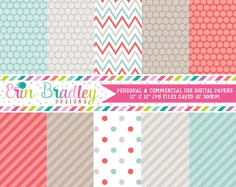 Digital Paper Set Personal and Commercial Use Red and Blue Polka Dots and Stripes