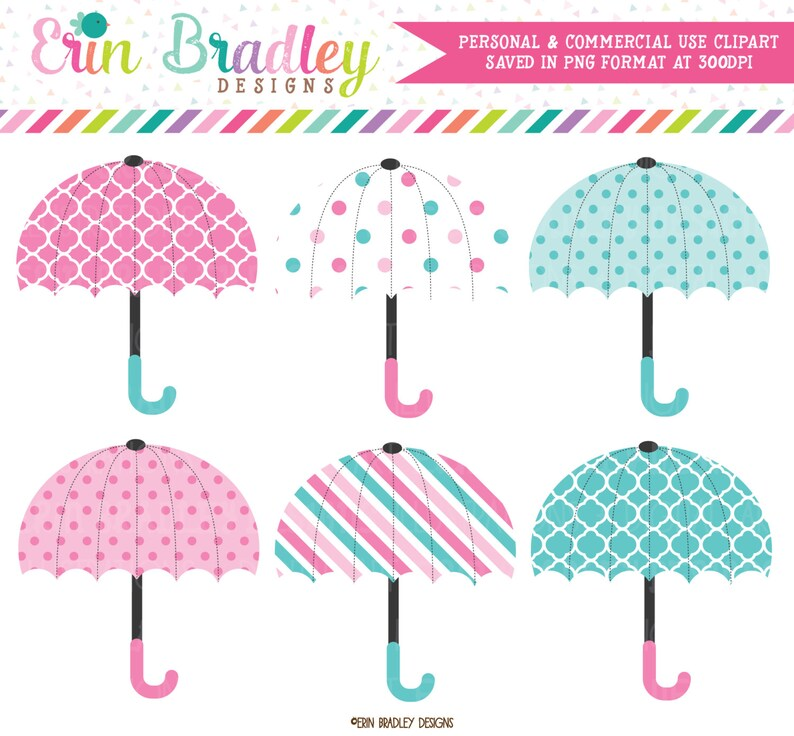 b8bc999da Baby Umbrellas Clipart in Pink & Blue Instant Download | Etsy