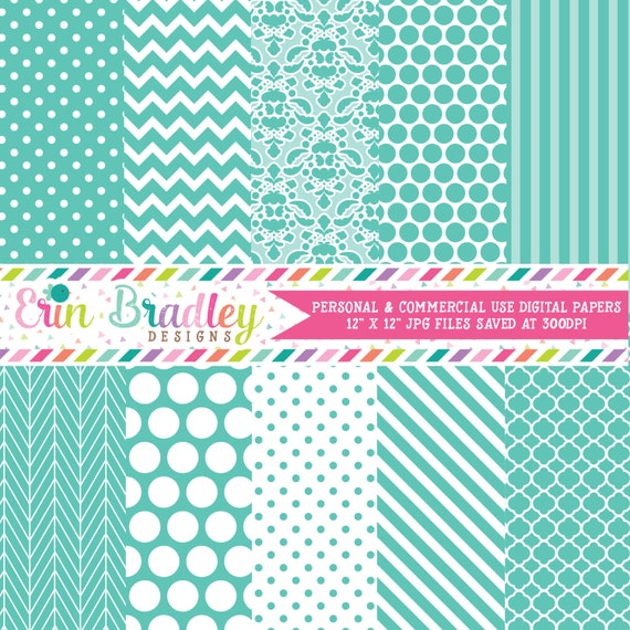 Aqua Blue Digital Paper Pack Polka Dots Damask Chevron And Striped Background Patterns Digital Scrapbooking By Erin Bradley Designs Catch My Party