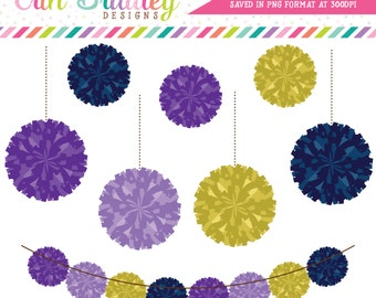 Pom Pom Garland Clipart Graphics Personal & Commerical Use Digital Clipart Graphics Navy Purple Gold