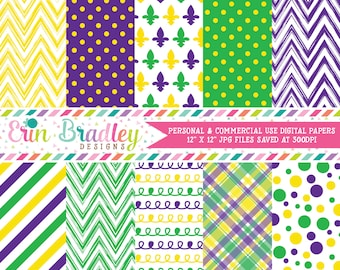 Purple Yellow Green Digital Paper Pack with Chevron Stripes Polka Dots Plaid & Doodle Patterns Commercial Use OK