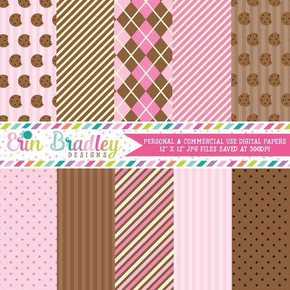 Cookies Digital Paper Pack For Girls Pink Brown Stripes Polka Dots Argyle Printable Patterns By Erin Bradley Designs Catch My Party