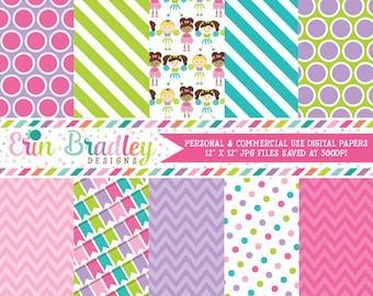 Cheerleaders Digital Paper Set, Commercial Use Digital Scrapbook Papers, Instant Download Graphics