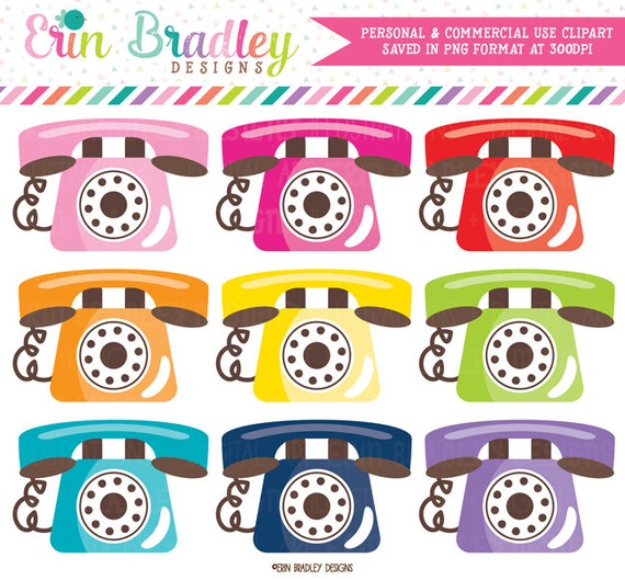 Telephone Clipart Graphics Phone Clip Art Personal Etsy