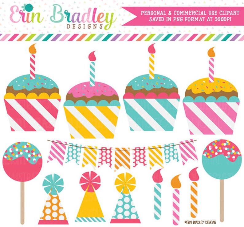 Birthday Party Clipart Cupcakes Cake Pops Hats Candles