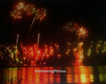 Fireworks Photography, Thunder Over Louisville, Kentucky Derby Festival, Night Photography, 8x10 Photography Print, Glitter, OOAK, Free Ship