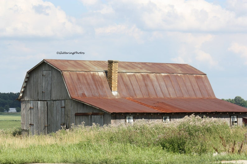 Americana Weathered Barn Photo Stilesville IN Art Barn Photography 8x10 Print Rural Photography Farmland Photography Hendricks County