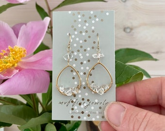 Herkimer Diamond and Gold Hoop Earrings, Herkimer Diamond Earrings